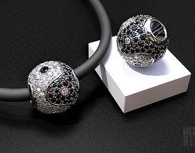 Yin Yang charm with diamonds 3D print model