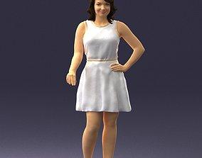 Girl in white dress 0478 3D