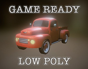 3D model low-poly Game Ready Old Pickup Truck PBR