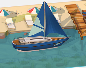 3D asset Isometric Blue Yacht Scene MotorBoat Blue