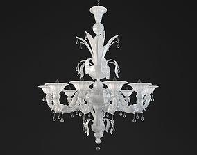 Paradiso White murano glass chandelier 3D model
