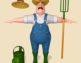 3D model can Cartoon Farmer