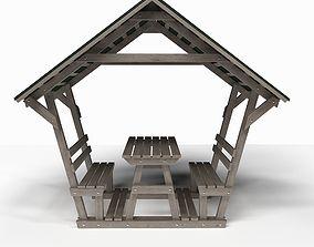 sunny Wooden pergola 3D model