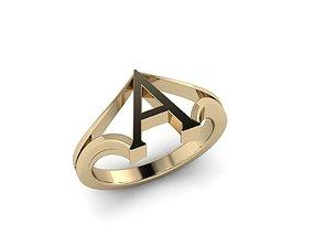 3D print model Jewelry Alphabet Ring A