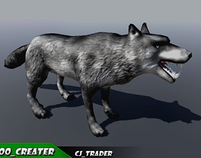 animated Low-Poly Wolf Rigged-Animated 3D Model