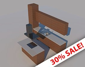 Low poly kitchen fit-out - with island 3D model low-poly