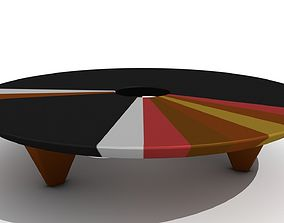 Retro Low Wooden Ring Coffee Table 3D