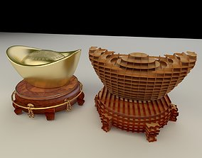 Chinese gold ingot display 3D