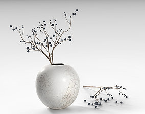 Round Crackle Vase with Blackthorn 3D