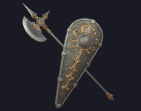 3D asset Fantasy Halberd and Kite Shield