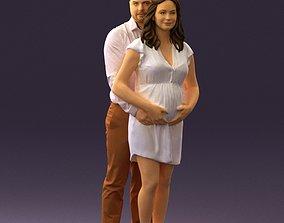 Man hugs pregnant woman 0598 3D print model