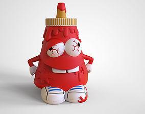 Ketchup Bottle Character for 3D print and also for low 1