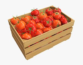 Tomatoes in wooden crate 3D