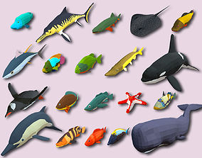 Fish Cartoon Collection Part 03 Animated - Game 3D model