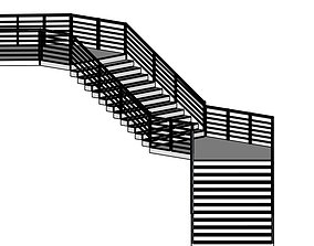 Modern Staircase in minimalist style with two 3D
