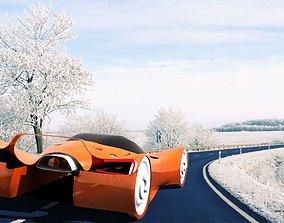 3D asset realtime aurora concept car wintage