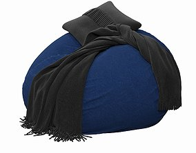 interior 3D model Navy Washed Twill Beanbag
