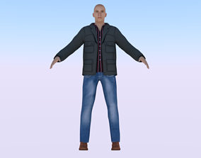 3D asset rigged low-poly Human