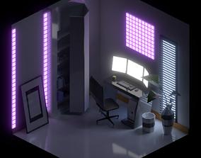 Interior Isometric Lowpoly Room 3D model