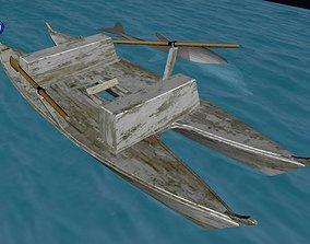 3D model Catamaran with Dolphin