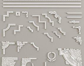 3D Angular elements and borders Decorative Gaudi Elements
