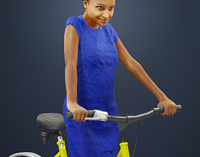3D Woman on Bike African Riding Her Yellow Bicycle