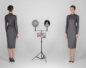 3D model Attractive slim brunette in a black dress