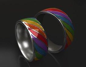 Rainbow wedding rings - original 3D print model
