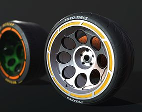 Wheel for supercars with Dunlop and TOYO tire 3D asset