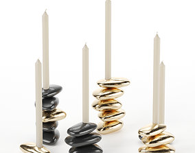 Stone candle holders 3D model