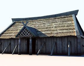 3D asset Viking House 3 longhouse