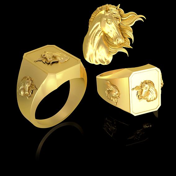 Wind Horse Head Man ring jewelry Gold 3D print model
