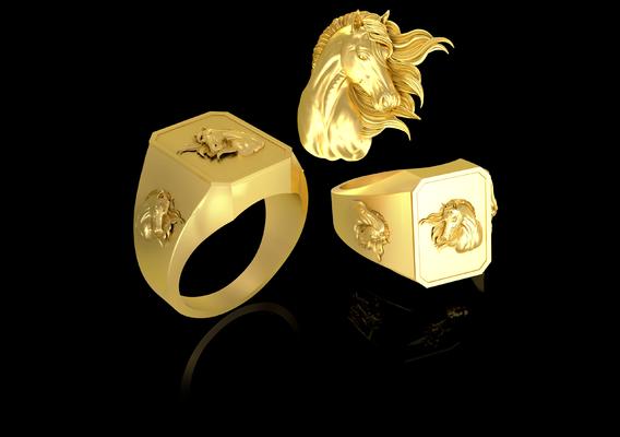Wind Horse Head Man ring jewelry Gold 3D print model