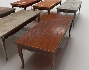 3D asset low-poly Old wooden tables PBR