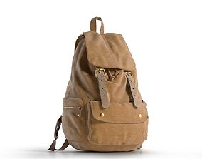 3D Brown Leather Travel Backpack