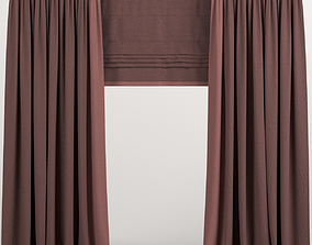 curtain 3D model Curtains with Roman