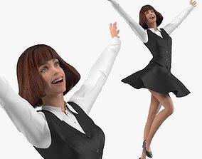 Teenage Girl School Uniform Jumping Pose 3D