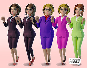 3D model animated cartoon office woman