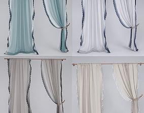 Linen Lace Curtain 3D model