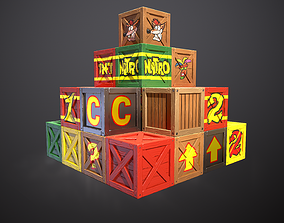 3D asset Stylized Crash bandicoot Crates