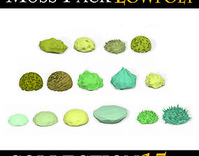 3D asset LOW POLY Moss Pack