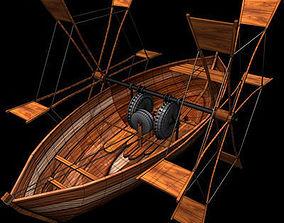 3D model Leonardo boat with shovels