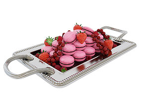 Macaroons with berries 3D