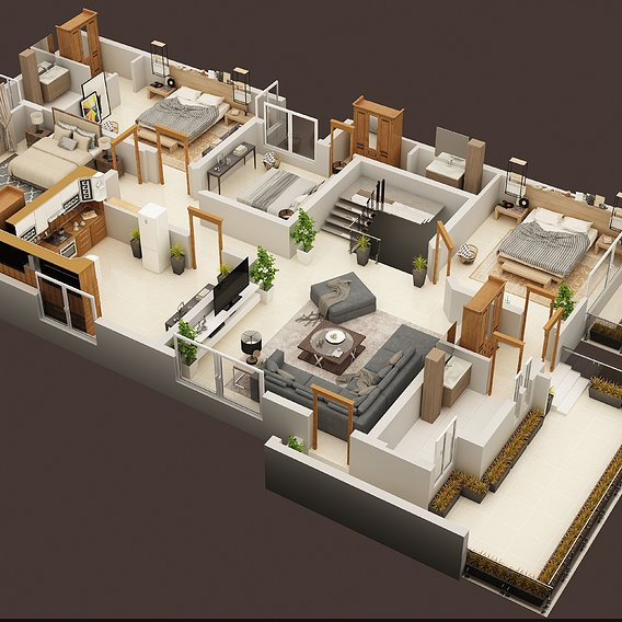 3D FLOOR PLAN OF 1 KANAL HOUSE