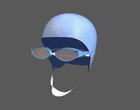 Swimcap and Goggles 3D asset