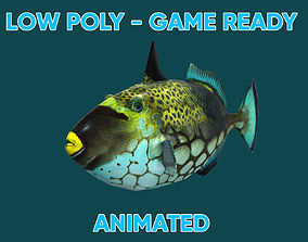 3D asset Low poly Clown Trigger Fish Animated - Game Ready