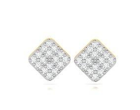 Women earrings 3dm render detail silver