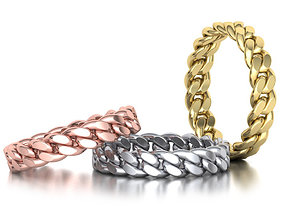 3D print model Miami Cuban Link Chain Ring Stackble 5mm 1