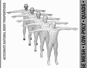 Male Body Base Mesh in T-Pose 3D asset realtime