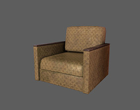 Retro Old Armchair 3D asset rigged